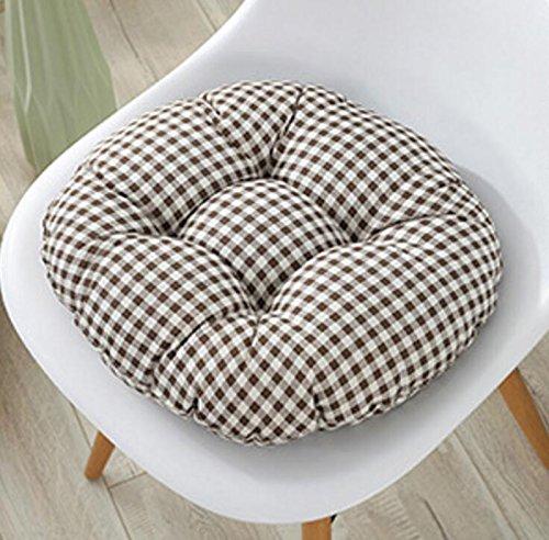 "Fandim Fly 13"" Round Barstool Cushion with Adjustable Drawstring Yoke - Checkers Brown 1/4"" Check Plaid - Latex Foam Fill Bar Stool Pad"