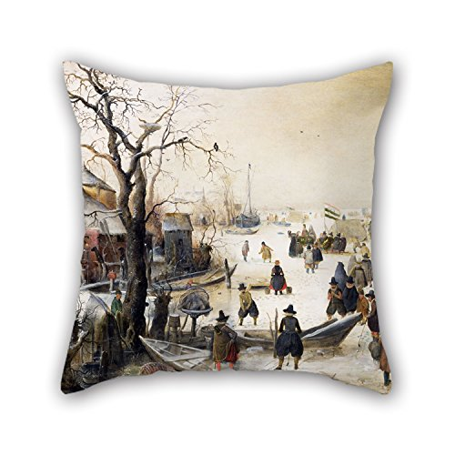 TonyLegner Oil Painting Hendrik Avercamp - Winter Scene On A Canal Pillow Shams 20 X 20 Inches / 50 by 50 cm Best Choice for Outdoor Home Office Pub Office Valentine Home with Twice Sides