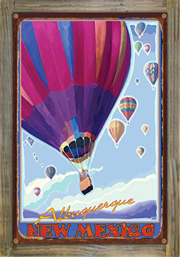 Northwest Art Mall Albuquerque New Mexico Hot Air Balloons Purple Rustic Metal Print on Reclaimed Barn Wood by Joanne Kollman (12