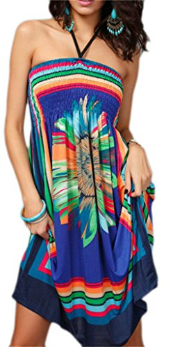 Shoulder Printed Bohemian Halter Sexy Floral Backless Womens Off Domple Dress Blue aUqPF