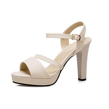 RFF-Frühlings-, Sommer- und Herbstschuhe Im Sommer ist die high-heel Schuhe Dornschließe Wasserfest, glänzend Sandalen, weiß, 35