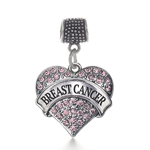 Inspired Silver Pink Breast Cancer Pave Heart Memory Charm Fits Pandora Bracelets & Compatible with Most Major Brands such as Chamilia, Murano, Troll, Biagi and other European Bracelets