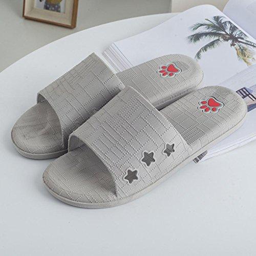 Cooljun Männer Lattice Flat Bad Hausschuhe Sommer Sandalen Indoor & Outdoor Hausschuhe Gray