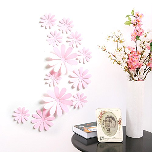 Amaonm 24 PCS Cute 3D DIY Flowers Wall Decals Removale Home art Decor Flowers Wall Stickers Murals for Kids Girls room Bedroom Weeding party Birthday Shop Windows Decorations (Pink)