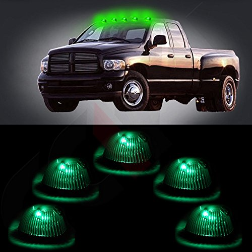 (cciyu Replacement fit for 94-98 Dodge Ram 2500 3500 Black Smoked Cab Roof Top Marker Running Lamps w/Green LED Light Bulbs(5 Pcs) )
