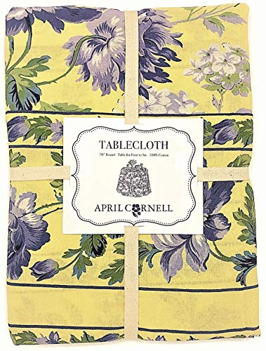 (April Cornell Greta's Garden Floral Tablecloth Periwinkle & Yellow (70