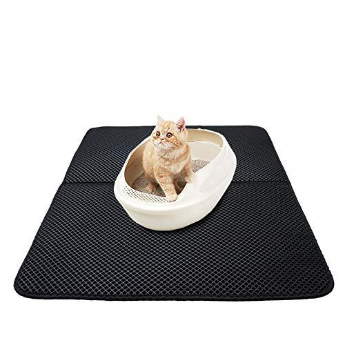 nero Pudincoco lavabile EVA Cat Litter Mat Nero impermeabile doppio strato Cat Litter Trapper Mat Soft Cat Cuscino pieghevole Cat Bed