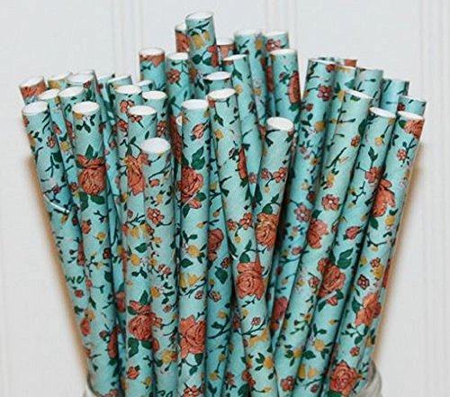 Floral Blue Print Set of 100 Count Size 7 3/4 inch Flower Print Design Paper Drinking Straw Baking Sticks Cake Pop Sticks For Cake Pops Lollipops Crafts Cupcake Toppers Rock Candy and Brownie Pops