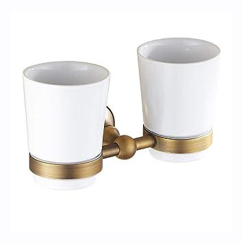 Rishx Cobre Antiguo Taza de Cepillado Doble Pareja de cerámica Cepillo de Dientes Vaso Titular Vintage baño Colgante Accesorios: Amazon.es: Hogar