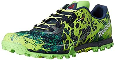Reebok Men's All Terrain Super Or Running Shoe, Solar Green/Collegiate Navy/White/Solar Yellow, 7 M US