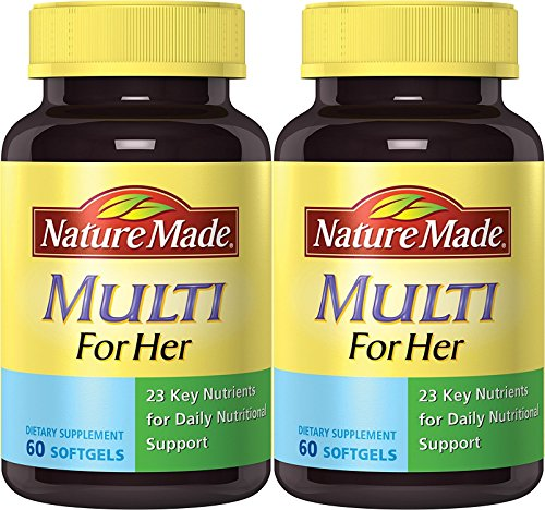 Nature Made Multi for Her, 23 Essential Vitamins & Minerals 60 Softgels (Pack of 2)