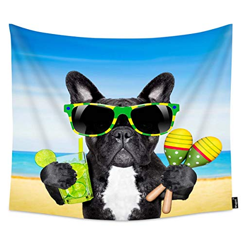 Mugod Cool Dog Tapestry Brazil French Bulldog Dog for Sunglasses Enjoying a Cocktail at The Beach on Summer Home Decor Tapestry Wall Hanging for Bedroom Living Room Dorm, 60WX51H ()