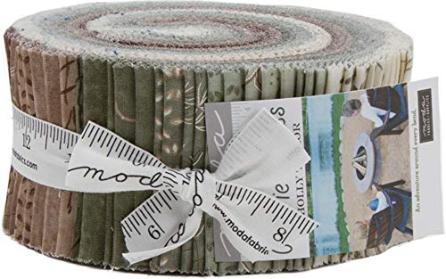 Quilt Fabric Strips (Prairie Grass Jelly Roll 40 2.5-inch Strips by Holly Taylor for Moda Fabrics 6750JR)