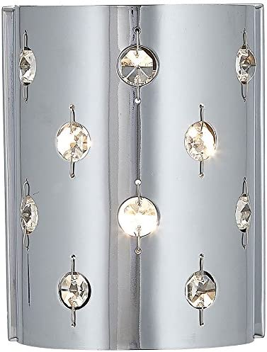 Polished Chrome Glass Beaded Single Light Fixture Sconce Bathroom Hall or Vanity LED Wall Lighting