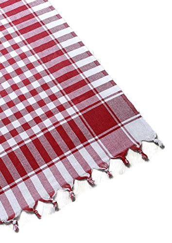 ringed square checkered cotton plaid picnic throw blanket table cover gingham check buffalo cotton bohemian checkered seats 2-4 people 55x55 inches red and white (Plaid Cotton Tablecloth)