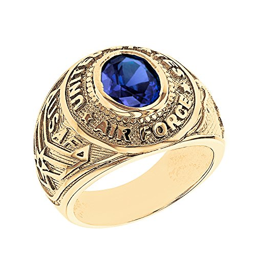 Solid 14k Yellow Gold September CZ Birthstone US Air Force Men's Ring (Size 13.25)