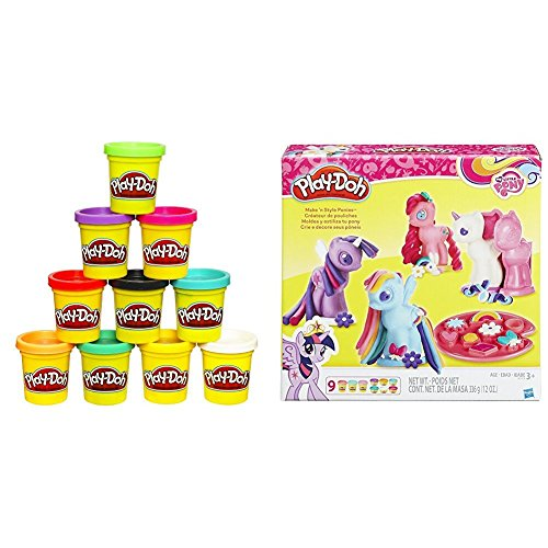 Play-Doh 10-Pack of Colors (Amazon Exclusive) with Play-Doh My Little Pony Make 'n Style Ponies Bundle (Art Attack Halloween English)