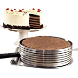 Amariver Adjustable Stainless Steel Mousse Mould Multilayers Cake Slicer Kit,Suitable for Cutting 9-12 inches Cake(Round),Large Size