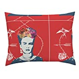 Roostery Frida Cushion Cover Mexican Arrow Standard Knife Edge Pillow Sham Frida Kahlo (Shiraz) by Nouveau Bohemian 100% Cotton Sateen