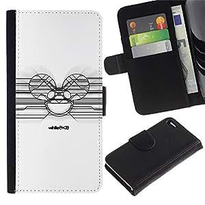 JackGot ( Deadmaus White ) Apple Iphone 4 / 4S la tarjeta de Crédito Slots PU Funda de cuero Monedero caso cubierta de piel