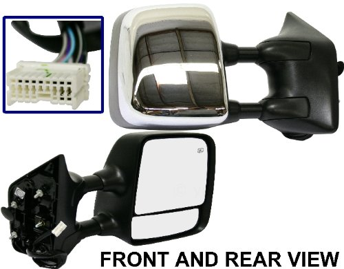 For Nissan TITAN 04-11 SIDE MIRROR RIGHT PASSENGER, HEATED, TELESCOPIC, CHROME ()