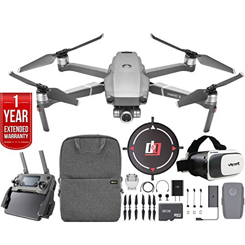 DJI Mavic 2 Zoom Drone Mobile Go Kit with 24-48mm Optical Zoom Camera CMOS Sensor and Landing Pad, VR FPV Goggles, Backpack, High Speed Memory Card & One Year Warranty Extension Bundle