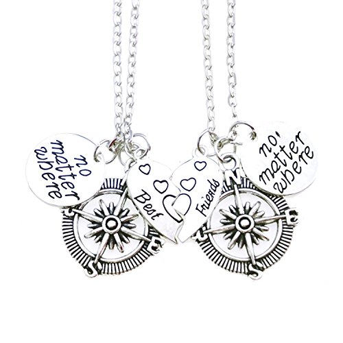 ALoveSoul Best Friends Necklaces No Matter Where Compass Heart Broken Heart Charm Friendship Pendant Set