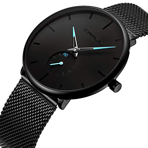 Tamlee Mens Black Plated Slim Case Mesh Stainless Steel Band Waterproof Watches for Men (Black Blue Hands)