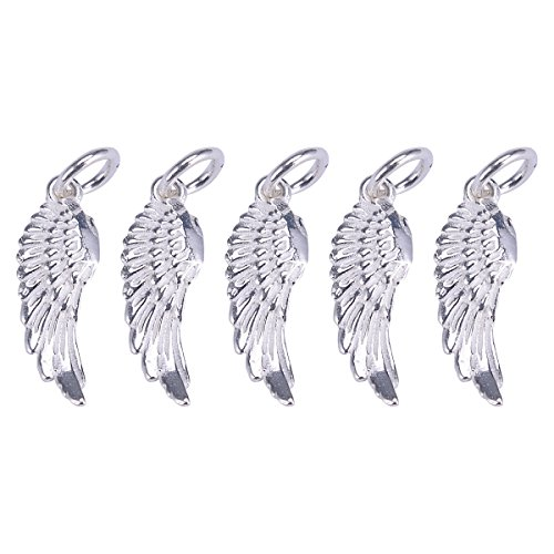 (VALYRIA 5PCS 925 Sterling Silver DIY Angel Wing Charms Pendants for Jewelry Making Findings 18.5mmx6.5mm)