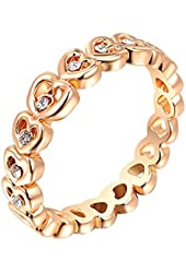 Lovely Women's Rhinestone Gold Plated Sweet Heart Ring Wedding Party Jewelry