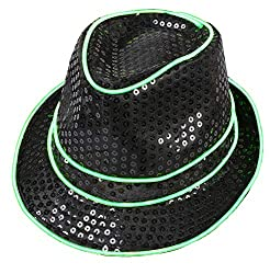 Neo Green Light Up With Black Sequin Fedoras Hat