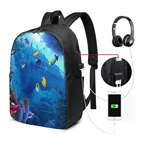 Travel Laptop Backpack, Business Laptops Backpack with USB Charging Port, College School Computer Bag Gifts for Women & Men Fits 15.6 Inch Notebook, Ocean #13