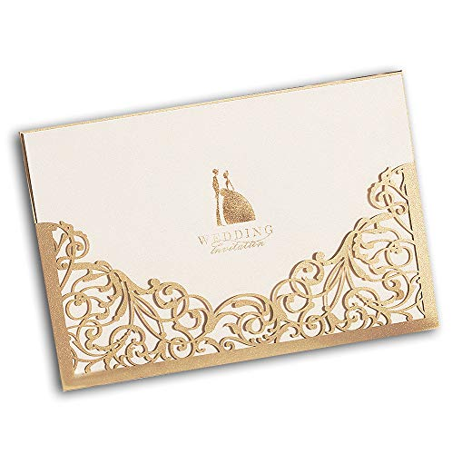 - 50 WISHMADE 5 x 7 inch Gold Laser Cut Wedding Invites, Printable Bridal Shower Invitation Pocket Sleeve with Envelope, Provide Personalized Customized Service CW1016