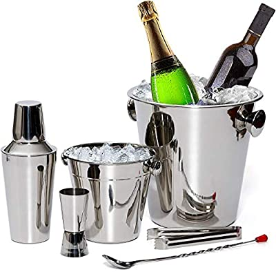 Bar Set By Bezrat - Stainless Steel Barware Accessories - Cocktail Kit for Parties & Fun - 6 Piece Bartender Set with Cocktail Shaker, Double Jigger, Ice Tongs, Wine Chiller, Ice Bucket & Mixing Spoon