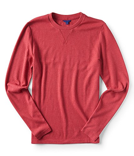 Aeropostale Mens Thermal Basic T-Shirt, Red, Small ()