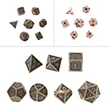 Cicitop 7Pcs Shiny Metal Game Dices, Lightweight and Portable, Perfect for TRPG Board Game, Dungeons And Dragons, Club and Bar Drinking Playing Game Tool, Math Teaching.