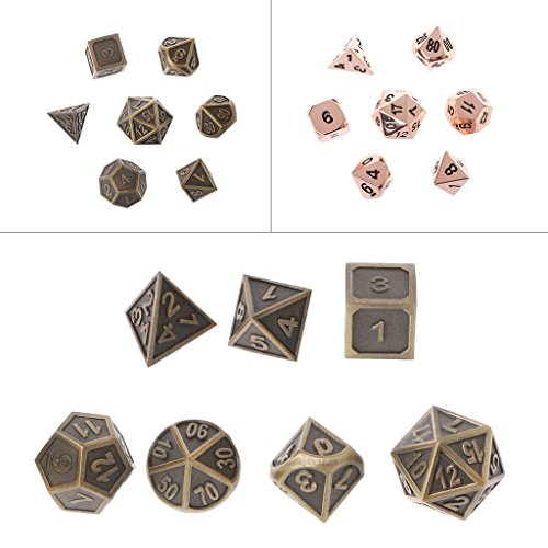 Cicitop 7Pcs Shiny Metal Game Dices, Lightweight and Portable, Perfect for TRPG Board Game, Dungeons And Dragons, Club and Bar Drinking Playing Game Tool, Math Teaching. by Cicitop