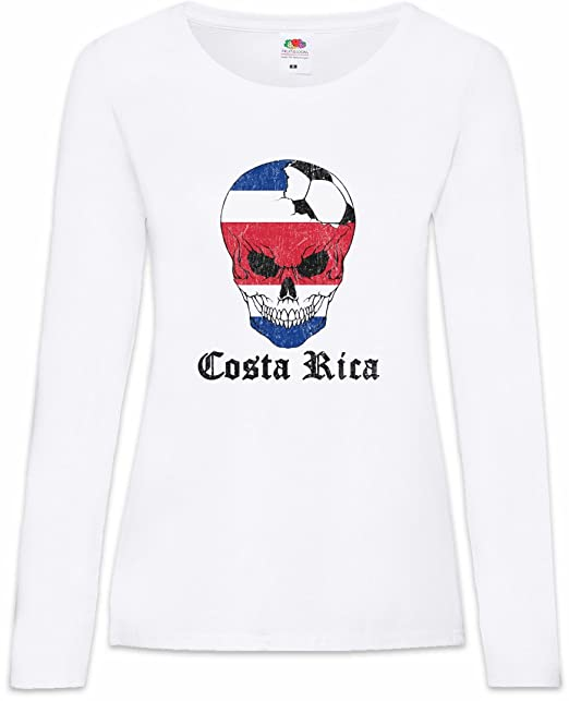 Urban Backwoods Costa Rica Football Skull I Mujer Woman T-Shirt De Manga Larga Tamaños