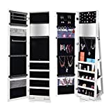 Bonnlo Jewelry Armoire Cosmetic, 360 Degree Rotary Swivel Mirrored Closet Cabinet, Lockable Full Length Mirror Solid Stand(360 Rotation)