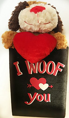 Valentine's Love You gift set includes Brown Plush Dog and Keep Sake Velvet Tote Bag