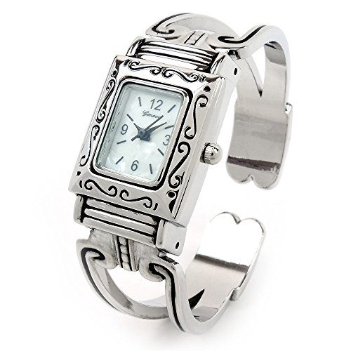 Silver Western Style Rectangle Face Decorated Women's Bangle Cuff (Western Style Bangle Watch)