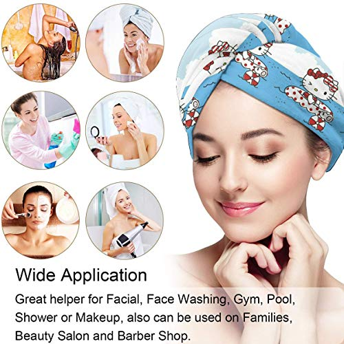 Hair Towel Wrap Turban Hello Kitty Pool Time Microfiber Drying Bath Shower Head Towel With Button, Dry Hair Hat