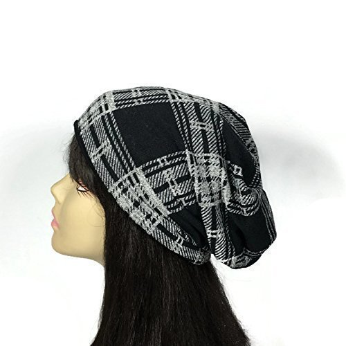 ef2765064da Black and Gray Plaid Lightweight Knit Slouchy Hat Unisex Slouchy Beanie  Men s Slouch Hat Black and Gray Check Hat Custom Sizes Custom Linings  Reversible