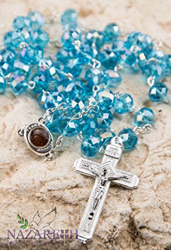 Catholic Light Blue 10mm Crystal Beads Rosary Holy Soil Medal & Silver Crucifix