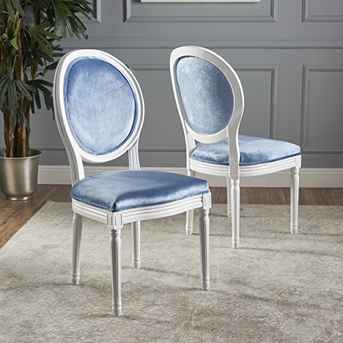 Camilla Fabric Set (Camilla Traditional Grey New Velvet Dining Chairs (Set of 2) (Icy Blue/Gloss White))