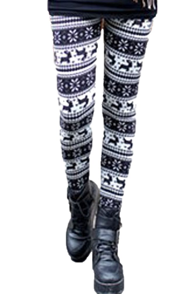 made2envy Fleece Lined Reindeer and Snowflakes Winter Leggings (M, Animal Print), C79469M