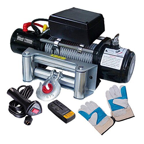 12 Volt 12000 lbs Wireless Remote Industry Electric Winch