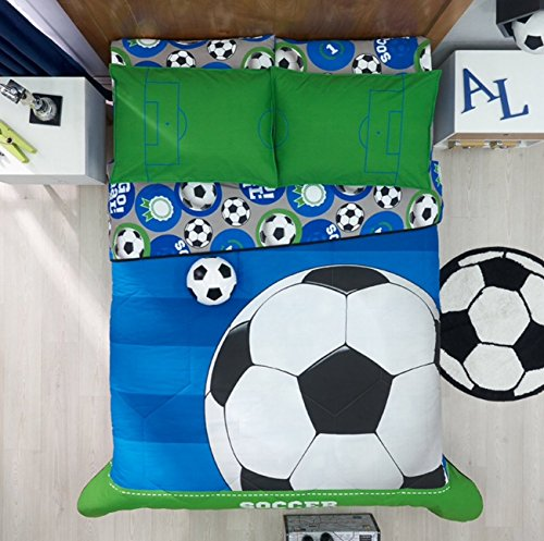 SOCCER BOYS CHIC COLLECTION REVERSIBLE COMFORTER SET,SHEET SET AND WINDOWS PANELS 12 PCS FULL SIZE by JORGE'S HOME FASHION