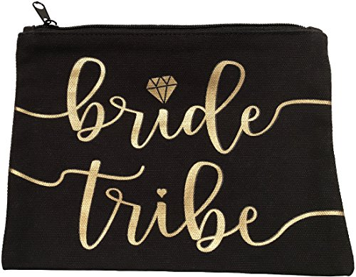 Bride Tribe Makeup Bags - Bridesmaid Favor for Bachelorette Party, Bridal Shower, Wedding. Also great as Toiletry Bag, Wedding Survival Kit, Hangover Kit, Keepsake (5pc Pack, Black & Gold)