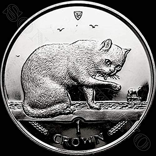 (1999 BRITISH BLUE CAT - Uncirculated Cupro Nickel 1 Crown Coin - Isle of Man)